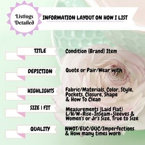 Other - • How I List & Ship